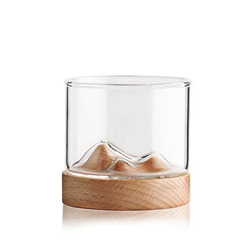 MOGOI Whiskygläser 2er Set, Mountain Cup Old Fashioned Tumbler-Gläser Für Bourbon, Scotch Whisky, Cognac, Cocktails, Hölzerne Unterseite.