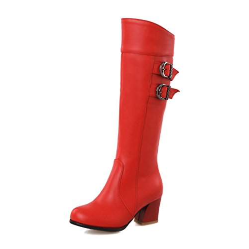 ZQ@QXregalo di Natale Europea e Americana oversize scarpe donna, doppie fibbie della cintura di sicurezza posteriore, cilindro alta talloni e stivali gules