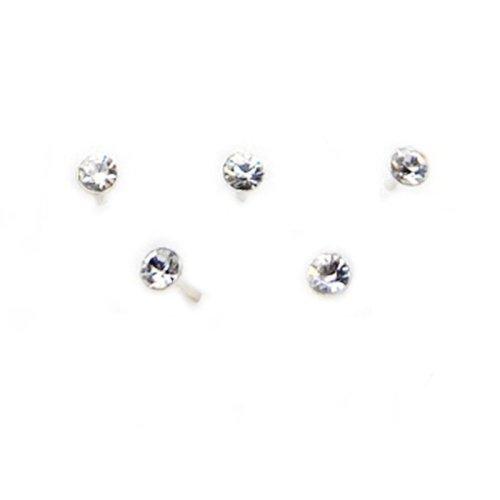 Set 5 pezzi piercing orecchini naso 1.5 mm brillantino piccoli brillantini bianchi argentate argento 925 sterling orecchino