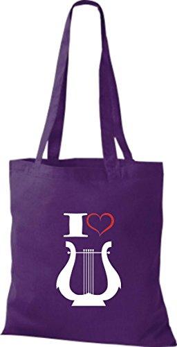 Shirtstown Stoffbeutel Musik I love Hand Harfe Harp Lila