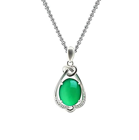 Epinki 925 Sterling Silber Damen Halskette, Kristall Tropfen Form Anhänger Statementkette Poliert Silberkette Grün 1.22x2.45 CM mit Zirkonia