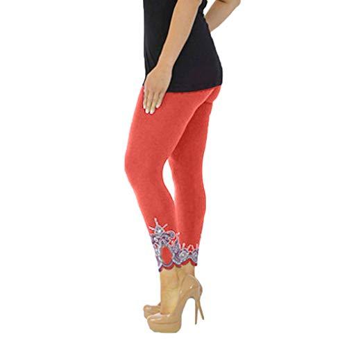 WOZOW Damen Leggings Gamaschen Solid Basic Lace Cuff Trousers Übergröße High Waist Stretch Elastisch Dünn Skinny Lang Long Sport Hose Yoga Stoffhose (XL,Orange Disco-flare Jeans