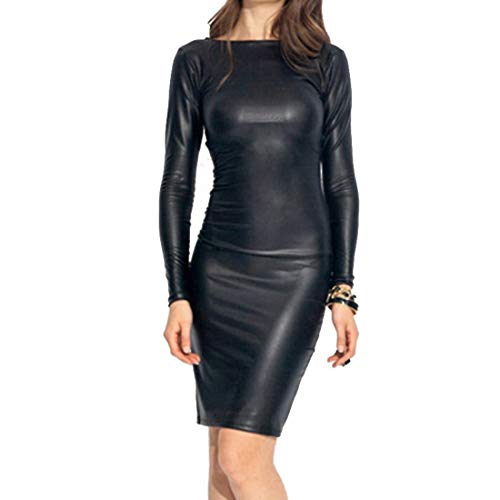 Shujin Damen Winter Langarm oder Armellos elegant Midi Bleistiftkleid Bodycon Clubwear Leder Dress in Latex Leder Lack Optik (M, Schwarz)
