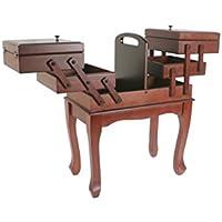 CAL FUSTER - Caja de costura extensible de madera en color nogal con patas. Medidas: 54x42x24 cm.