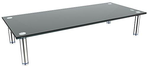 RICOO Monitorständer Bildschirmständer TV Ständer Podest FS6528B Universal Standfuß Rack Fernsehständer LCD QLED QE 4K LED OLED IPS SUHD UHD 3D Curved/ 43cm/17-107cm/42 Zoll/Schwarz