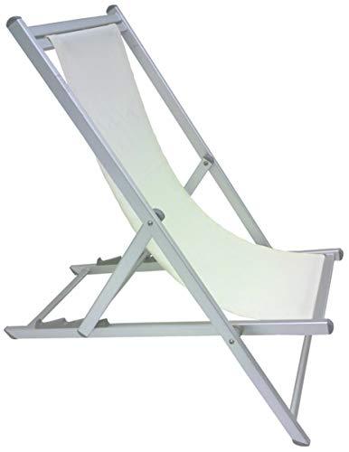 Savino fiorenzo sedia sdraio pieghevole prendisole bianca alluminio antiruggine per mare campeggio spiaggia stabilimento piscina giardino