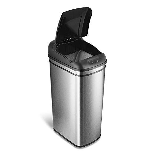 Grande couverte 50 litre hauteur slim les déchets alimentaires carrée rectangulaire sans contact motion sensor, inox mat, poubelles automatique pour la cuisine familiale et bureau à domicile