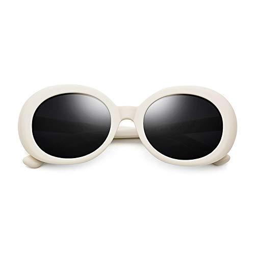MQW Platte Elliptische Sonnenbrille Weibliche Retro-Mode Polarisierte Sonnenbrille Männer Graue Linse UV400 Schutz Mode Persönlichkeit (Farbe : White)