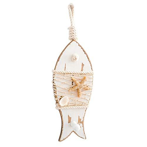 B Blesiya Holz Fische Kleiderhaken Wandhaken Garderobenhaken Schlüssel Mantel Haken Maritime Deko - Weiß (Kleiderhaken Fisch)