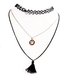 Alfora Three In One -Black Choker And Thread Pendant With Golden Alloy Necklace Set For Women (ALPTR06)