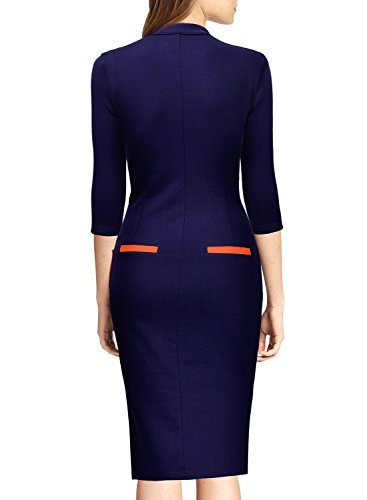 Miusol Damen Kleid Business 3/4 Arm Partykleid Etuikleid Bodycon Buero Abendkleid Navy Blau Gr.XL -