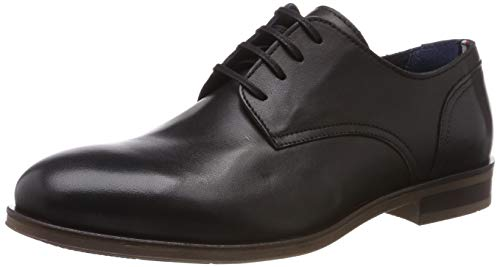 Tommy Hilfiger Herren Dress Casual Leather Shoe Oxfords, Schwarz (Black 990), 42 EU Herren Casual Dress Schuhe