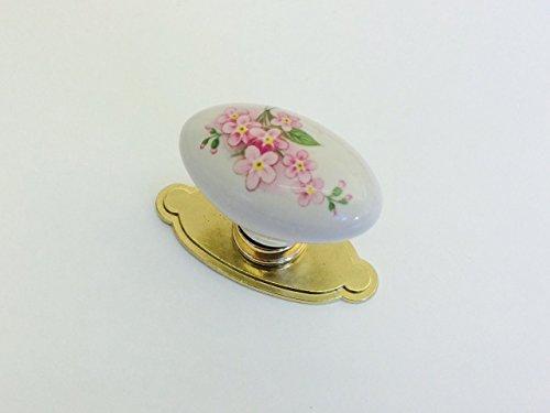 Pomello in stile classico per cassetti mobili armadi cucine oro lucido e porcellana con decoro, codice 670/BIS