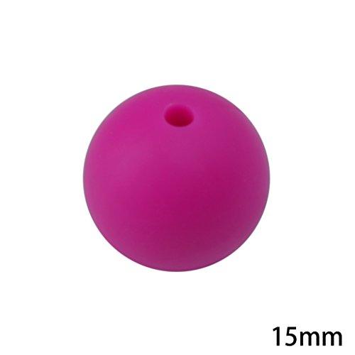 Jiamins 20 Stück 15mm Runde Baby kauen Schmuck Silikon BPA frei Perlen Beißringe DIY Halskette neu (Lila Rot)