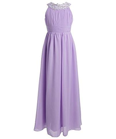 FAIRY COUPLE Mädchen Runde Ausschnitt Neckholder Chiffon Kleid mit Strass Rüschen Party-Kleid Ballkleid Schulterfrei K0151 10