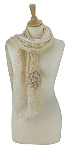 Sunsa Damen Schal Tuch aus Baumwolle & Polyester Stola Halstuch die perfekte Geschenkidee (beige) (Hippie Vintage-wrap)