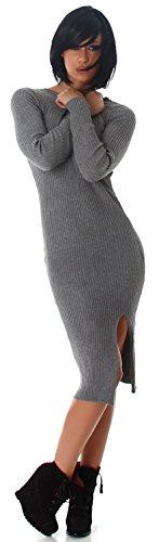 Jela London Maglia da donna Vestito con spacco laterale gambe taglia unica (34–40) Grau