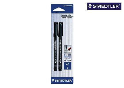 Preisvergleich Produktbild Staedtler 313-9BK2DA Lumocolor Universalstift S-Spitze, circa 0.4 mm, permanent, 2 Stück