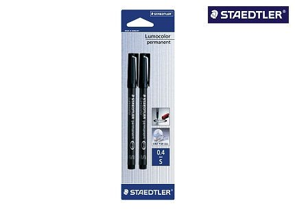 Staedtler 313-9BK2DA Lumocolor Universalstift S-Spitze, circa 0.4 mm, permanent, 2 Stück