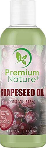 Huile naturelle de pépins de raisin Huile support - 118 ml légère et soyeuse hydratante riche en acides gras Omega. Empêche le vieillissement prématuré. Convient à tous les types de peau - pour peau, cheveux et ongles Premium Nature