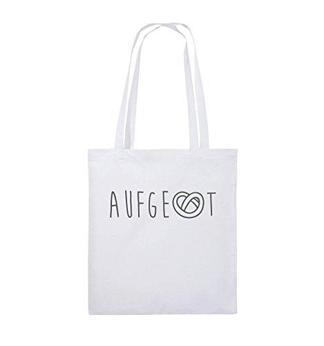 Comedy Bags - AUFGEBREZELT Oktoberfest - Jutebeutel - lange Henkel - 38x42cm - Farbe: Schwarz / Pink Weiss / Grau