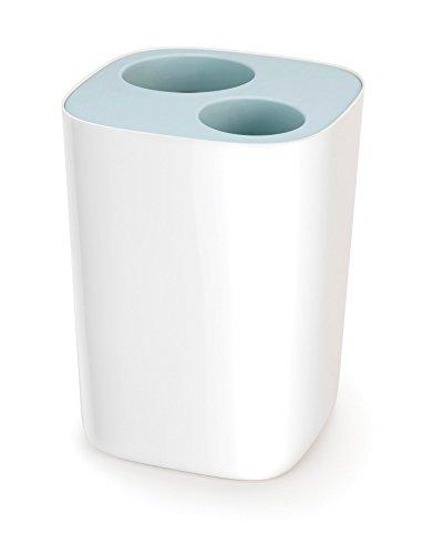 Joseph Joseph Split Poubelle de Tri pour Salle de Bain, Plastique, Blanc/Bleu Ciel, 19,1 x 18,9 x 27,9 cm