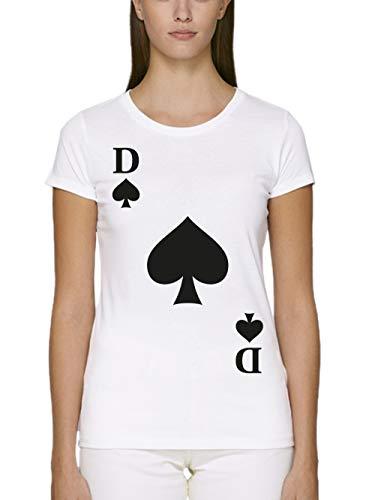 clothinx Damen T-Shirt Unisex Bio und Fair Karneval & Fasching Spielkarte Pik Dame Kostüm Weiß Größe - Pokerspieler Kostüm