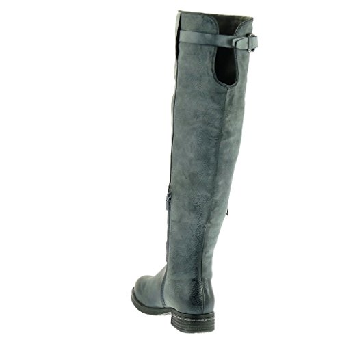 Angkorly Damen Schuhe Stiefel - Reitstiefel - Kavalier - Biker - Open-Back - Geflochten - Reißverschluss - String Tanga Blockabsatz High Heel 3.5 cm Blau
