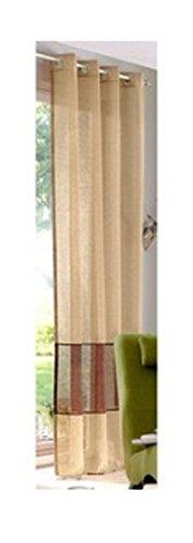Tenda my home lansing con motivo a righe, effetto lino, con occhielli, dimensioni: 245/140 cm, colore: cioccolato caramello