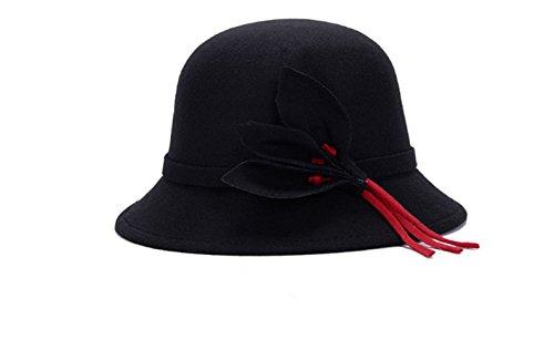 Swallowuk Damen Mädchen Filz Hut Wolle Hipster Retro Bowler Mütze Hats (Schwarz)