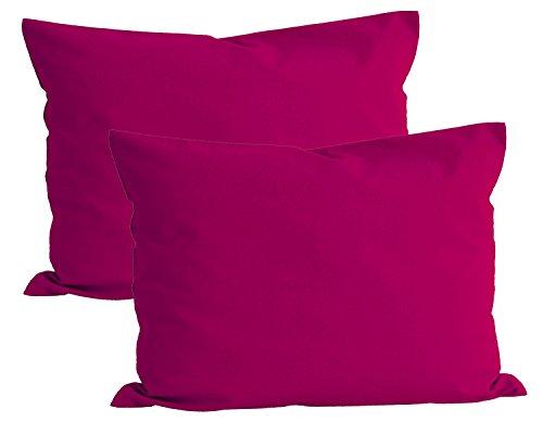 Paket mit 2x beties Basic Kissenbezug ca. 40x60 cm 100% Baumwolle in 14 fröhlichen Unifarben (Pink)