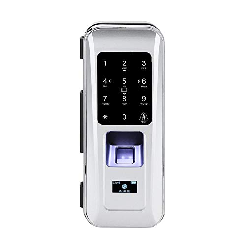 ASHATA Elektronisches Wireless-Türschloss, Fingerprint Scanner Türöffner Fingerabdruck Zutrittskontroller,Glastür Türschloss Touch-Tastatur Fingerprint Passwort ID-Karte Fernbedienung Tor Lock