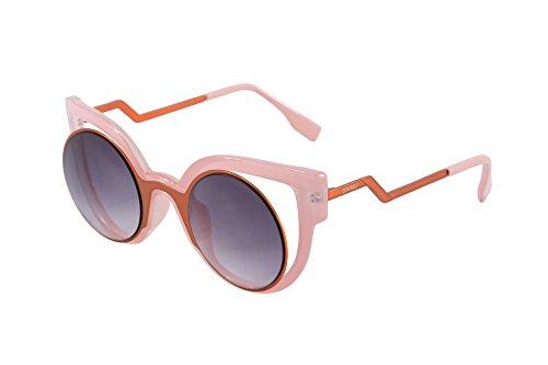 SHINU Horn Umrandeten Sonnenbrillen fuer Frauen Cut-Out Blitz Objektiv Katzenaugen Sonnenbrille-SH71016(Rosa, Grau verlaufend) (Vintage Horn Umrandeten Sonnenbrille)