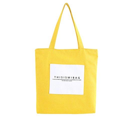 Canvas Tasche Loveso Frauen Reisen Freizeit Brief Canvas Taschen Schultertasche Tote Reißverschlusstasche (Gelb, 37cm×5cm×37cm) (Canvas-sommer-tote)
