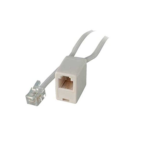 ISDN Telefon-Verlängerung-Western-Stecker 6/4 auf Western-Buchse 6/4, weiß, 10m