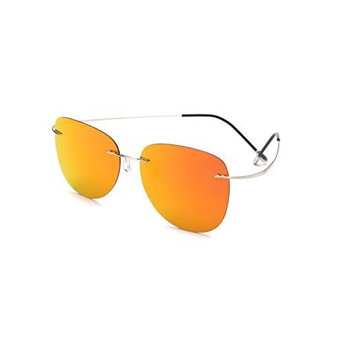 Vikimen Sportbrillen, Angeln Golfbrille,With Case Polarisiert Titanium Sunglasses Polaroid Brand Designer Rimless Gafas Men Sun Glasses Sunglasses For Men ZP2117 C7 CASE