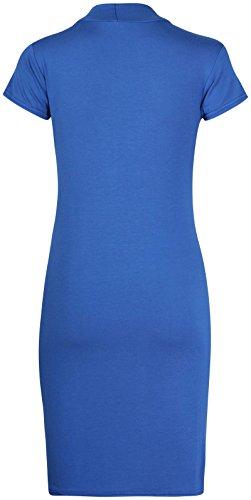 da donna corto maniche a pipistrello Polo a tartaruga girocollo lungo da donna t-shirt top BODYCON ELASTICO Mini abito Blu reale