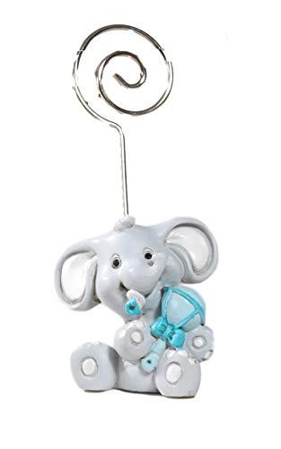 Paben bomboniera battesimo clip portafoto elefante celeste, 24 pezzi,4,5 cm in resina by