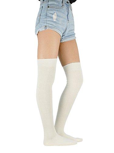 Zando Bambina over-knee alta cotone calzini termici da uomo, maglia, colori assortiti Milk Etichettalia unica