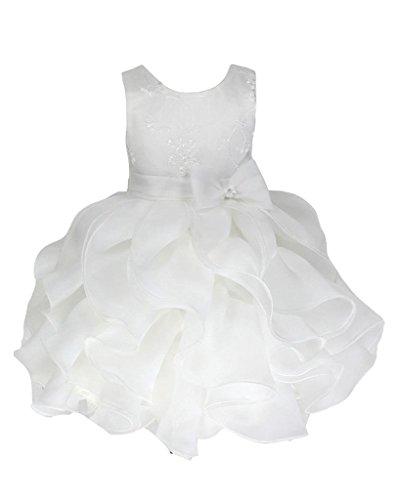 new product e14f6 0623b Go2victoria Organza abito da sera, vestito da bimbi, battesimo, vestito 6  mesi, Avorio (I861b-S)