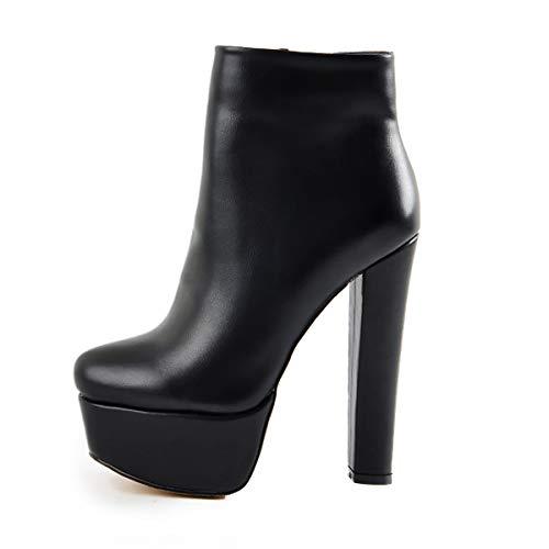 6-zoll-sexy High Heel (Onlymaker Frauen Stiefeletten Runde Zehen Plateau Blockabsatz Bootie Chunky High Heels Boots Warmer Gefütterter Stiefel mit Reißverschluss PU in Lederoptik Schwarz 42 EU)