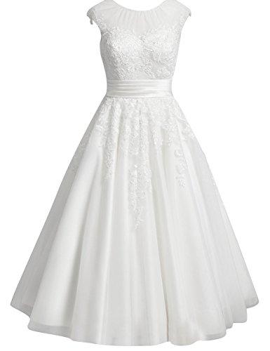 Kurze Brautkleider Spitze Vintage 60er Tüll A-Linie Hochzeitskleider Standesamt Kleider Damen...