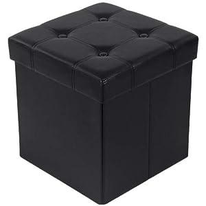 SONGMICS Sitzbank mit Stauraum belastbar bis 300 kg, Kunstleder, schwarz, 38 x 38 x 38 cm, LSF30B