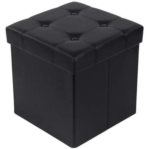 SONGMICS Sitzbank mit Stauraum belastbar bis 300 kg, kunstleder, schwarz, 38 x 38 x 38 cm LSF30B