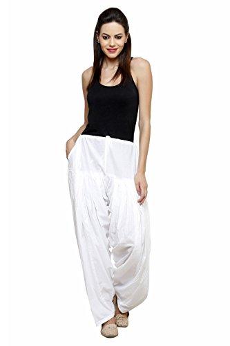 Pistaa\'S Women\'s Cotton Semi Patiala Salwar (ASPSWHITE_White_Free Size)