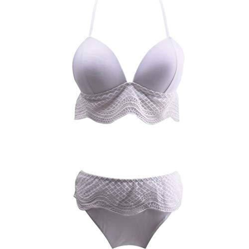 70's Kostüm Mädchen Workout - Schulterfrei mit V-Ausschnitt Swimwear Transparent Bikini Frauen Split Bikini, weißen Hohle-Strand-Badeanzug-dünne Spitze Zu 1015 (Color : A, Size : S)