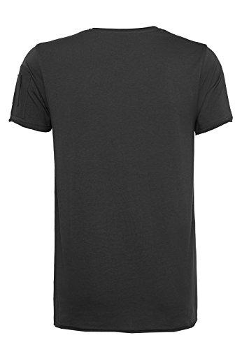 SUBLEVEL Herren Basic T-Shirt | Leichtes Shirt aus hochwertiger Baumwolle mit offenen Kanten Black