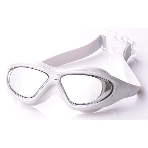 MRENF Schwimmbrille, Schwimmbrille mit Antibeschlag und UV Schutz, Schwimmbrille mit Flacher, Heller Fassung und wasserdichter Anti-Fog-Schwimmbrille für Erwachsene, Unisex, grau