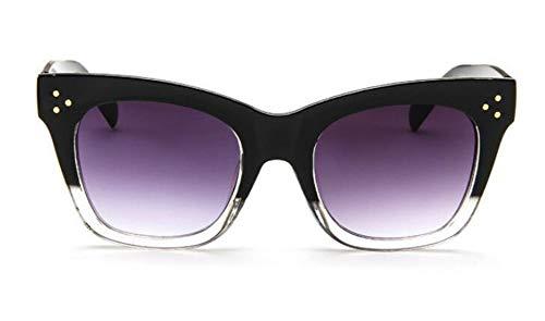 MJDABAOFA Sonnenbrillen, Rechteck Schwarz Weiß Sonnenbrille Frauen Pc Frame Gradient Objektiv Classic Niet Farben Weiblich Männlich Mode Brillen Uv400