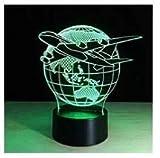 3D schöne welt der globe - flugzeug Optische Illusions-Lampen, Tolle 7 Farbwechsel Acryl berühren Tabelle Schreibtisch-Nachtlicht mit USB-Kabel für Kinder Schlafzimmer Geburtstagsgeschenke Geschenk